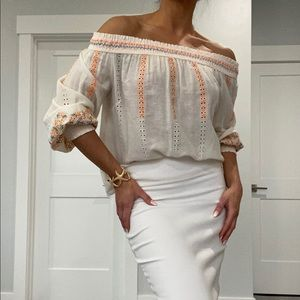 Anthropologie Off The Shoulder Cream Top